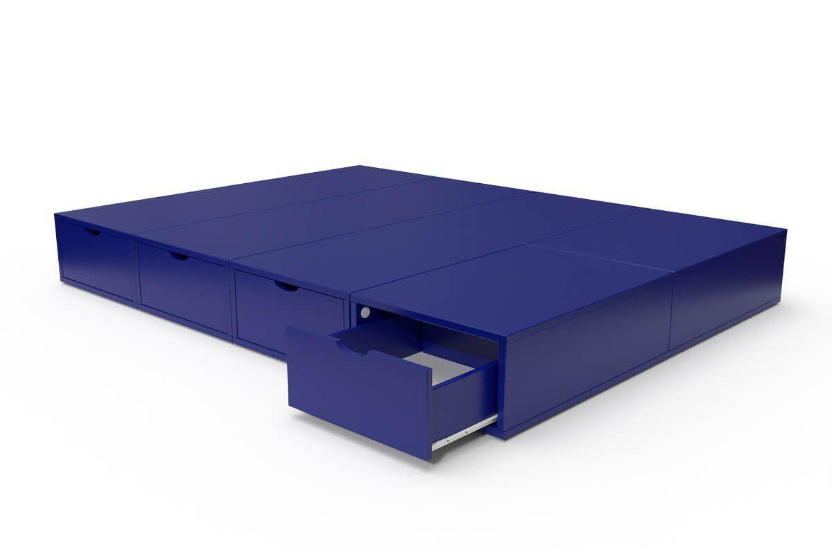 ABC MEUBLES Lit double avec rangement tiroirs Cube - 140x200 - Bleu foncé