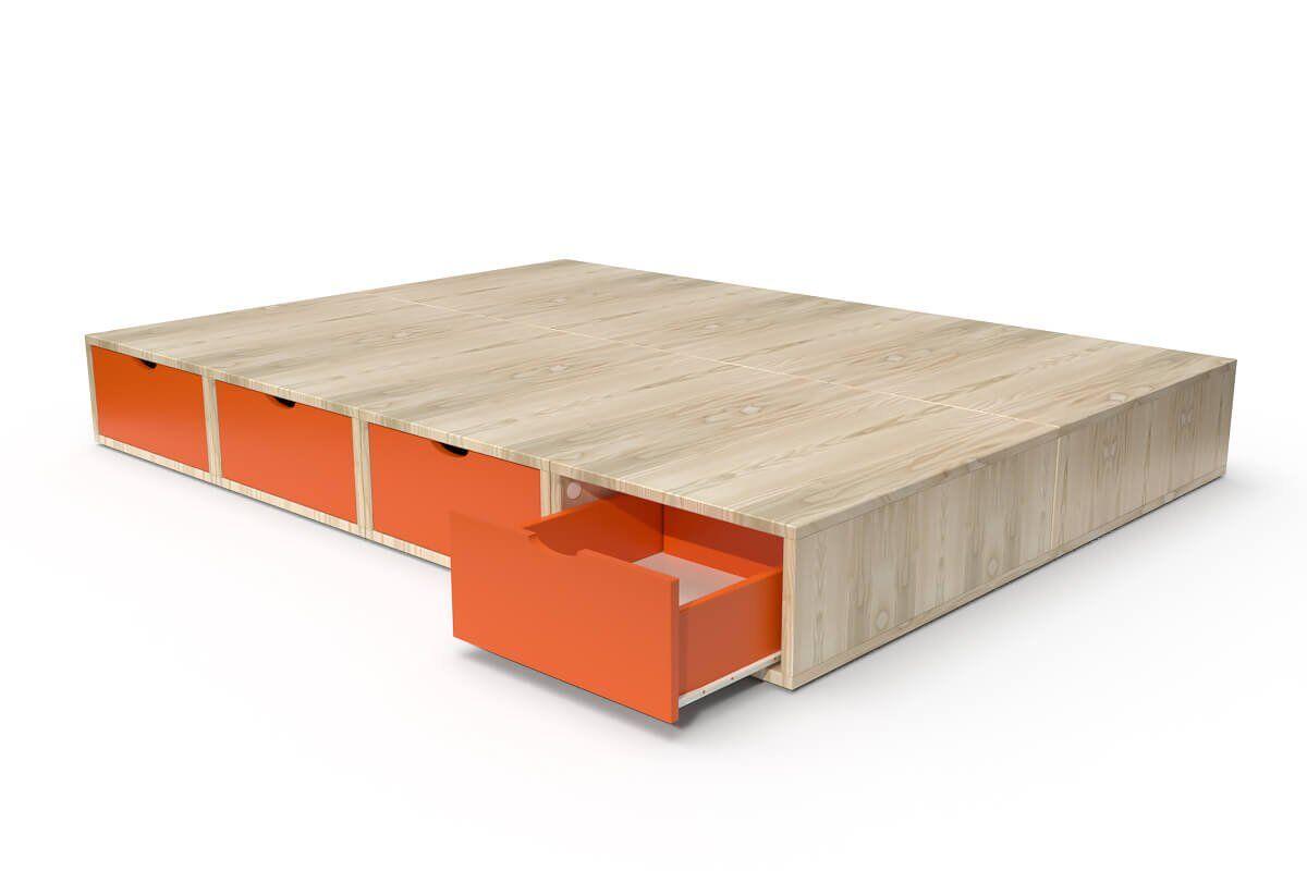ABC MEUBLES Lit cube deux places avec tiroirs - 140x200 - Vernis naturel/Orange