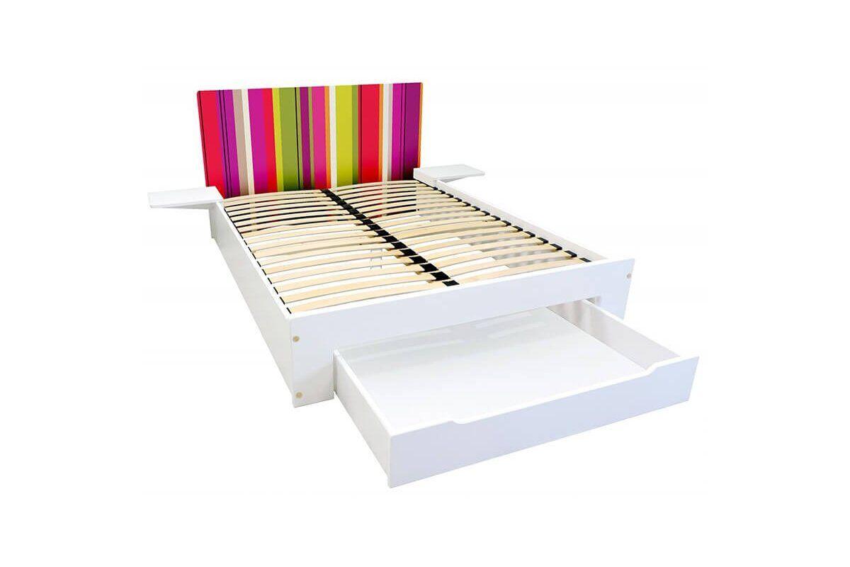 Abc meubles - lit happy + tiroirs + chevets amovibles - 2 places rayures anis,fuschia,citrouille 140x190