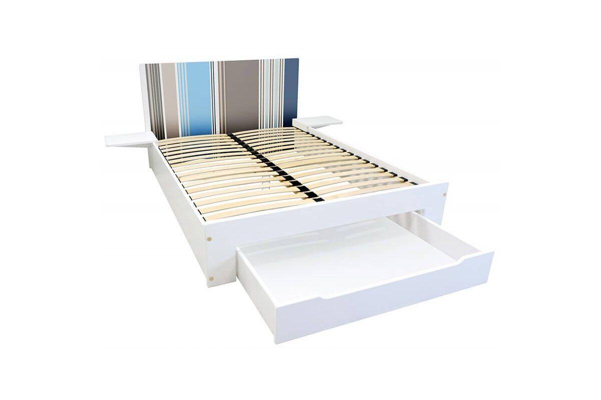 Abc meubles - lit happy + tiroirs + chevets amovibles - 2 places rayures bleu,gris,taupe 140x200