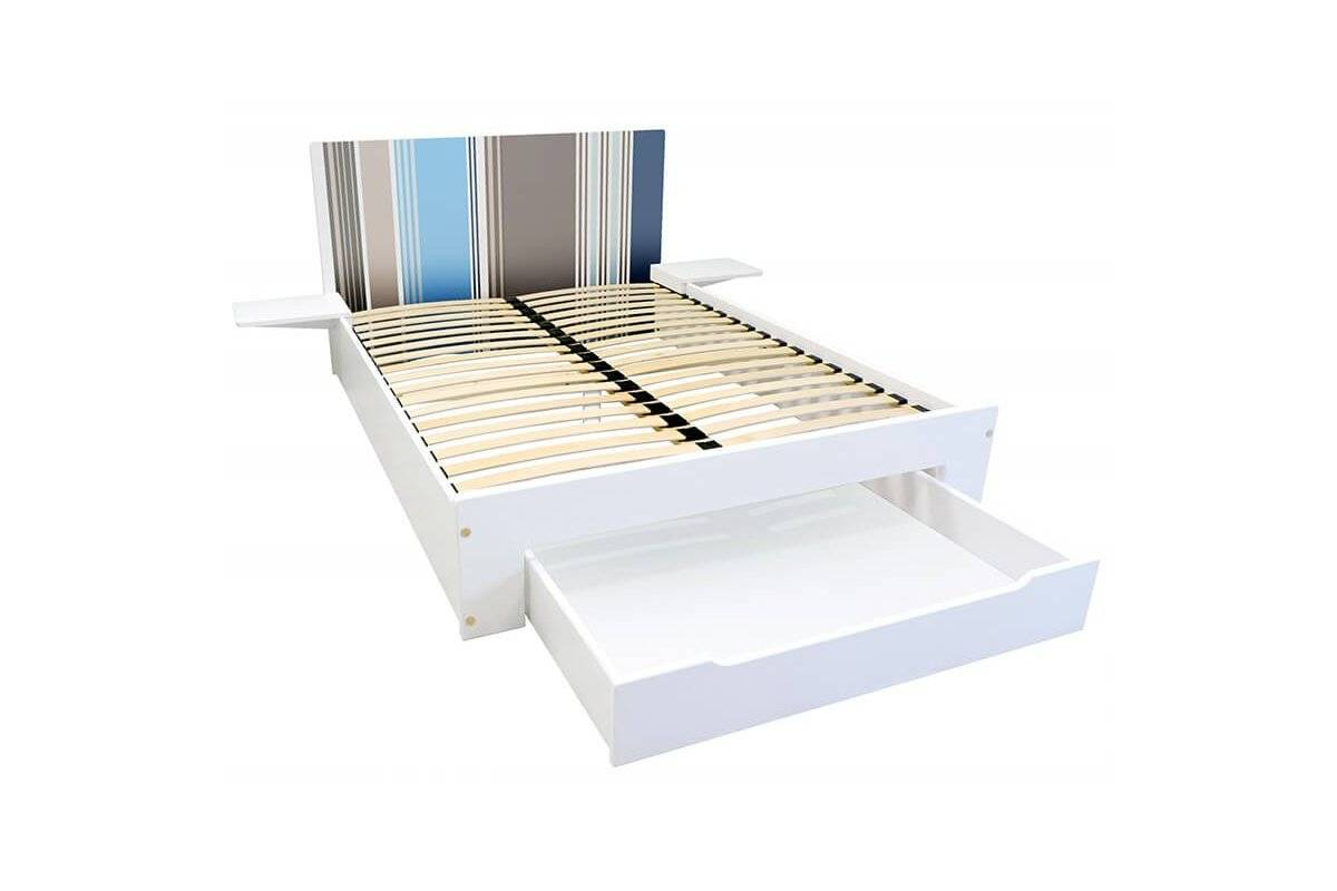 Abc meubles - lit happy + tiroirs + chevets amovibles - 2 places rayures bleu,gris,taupe 140x190
