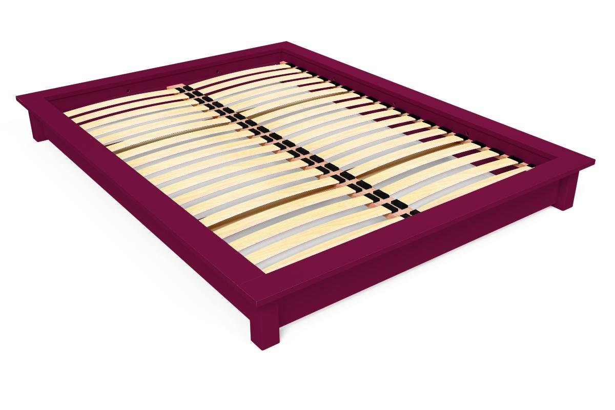 ABC MEUBLES Lit futon Solido bois Massif - 2 places - 140x190 - Prune