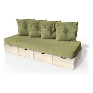Abc meubles - banquette cube 200 cm + futon + coussins brut sable - Publicité