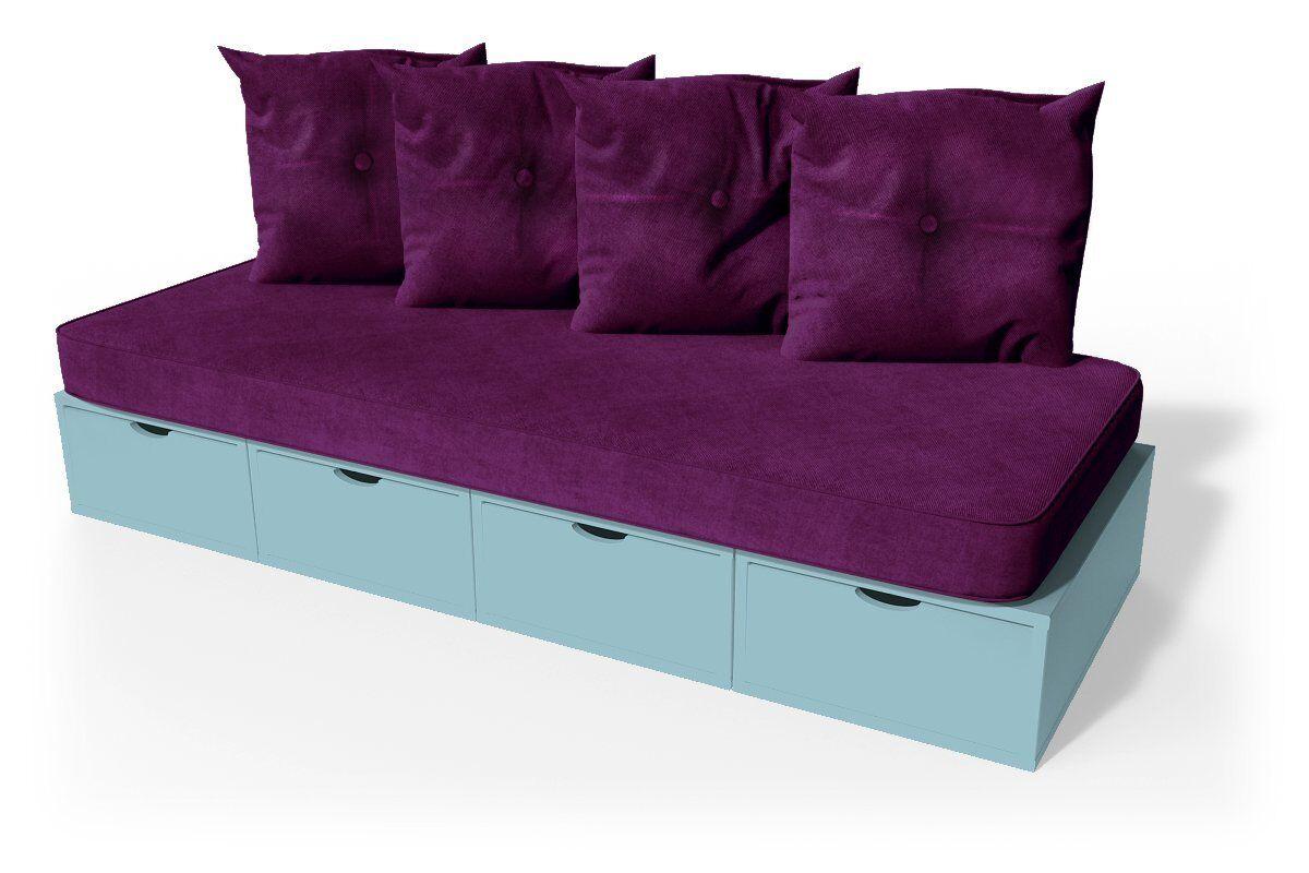 Abc meubles - banquette cube 200 cm + futon + coussins bleu pastel prune