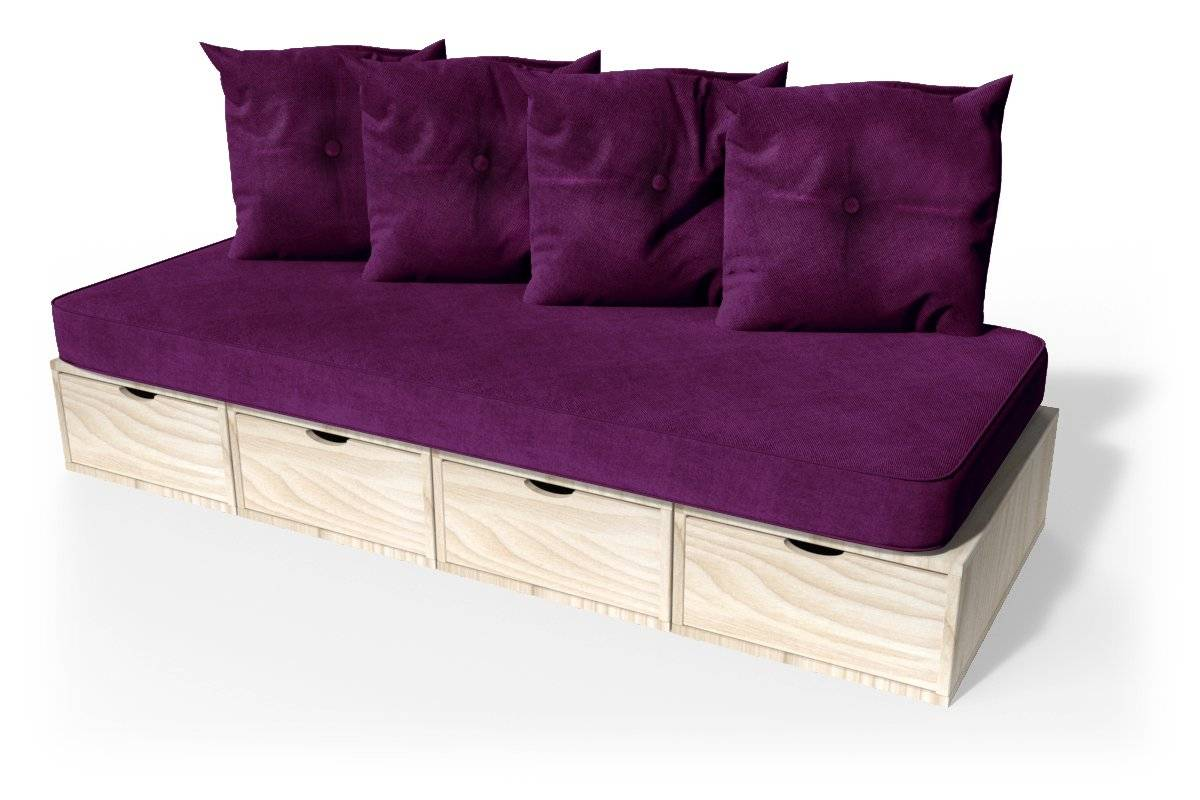 ABC MEUBLES Banquette cube 200 cm + futon + coussins - / - Brut