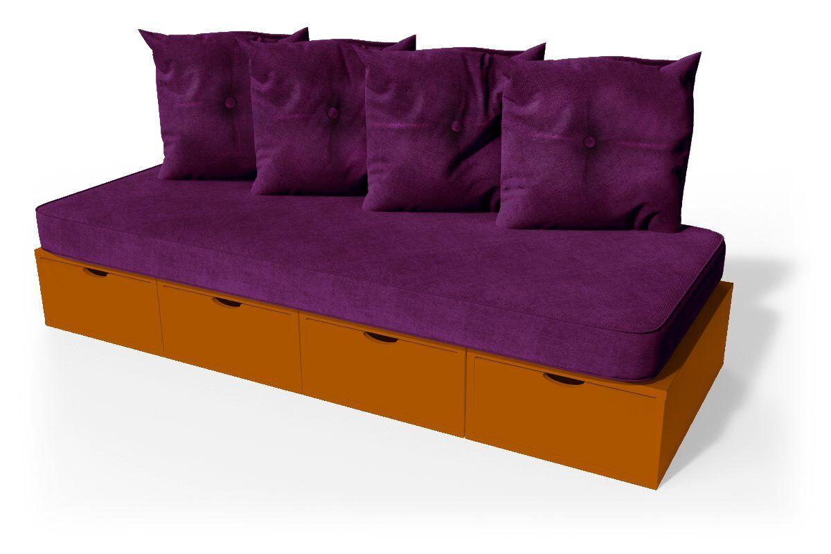 ABC MEUBLES Banquette cube 200 cm + futon + coussins - / - Chocolat