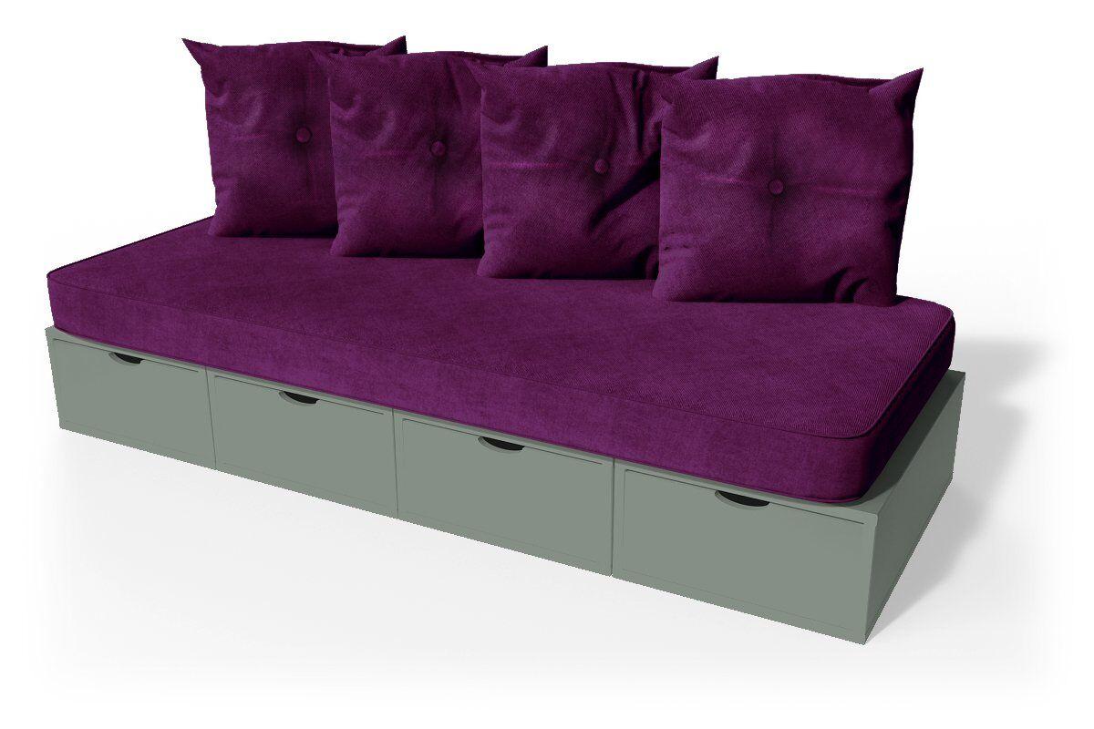 ABC MEUBLES Banquette cube 200 cm + futon + coussins - / - Gris