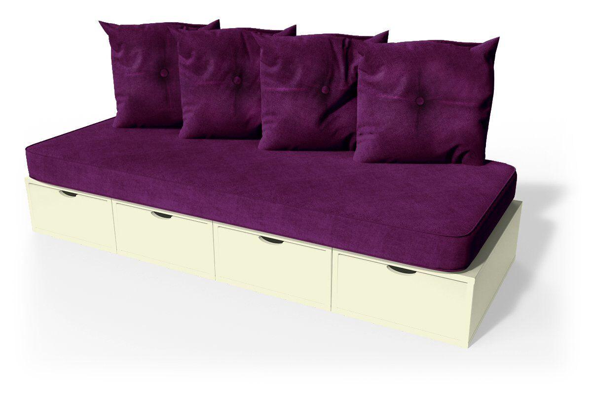 ABC MEUBLES Banquette cube 200 cm + futon + coussins - / - Ivoire