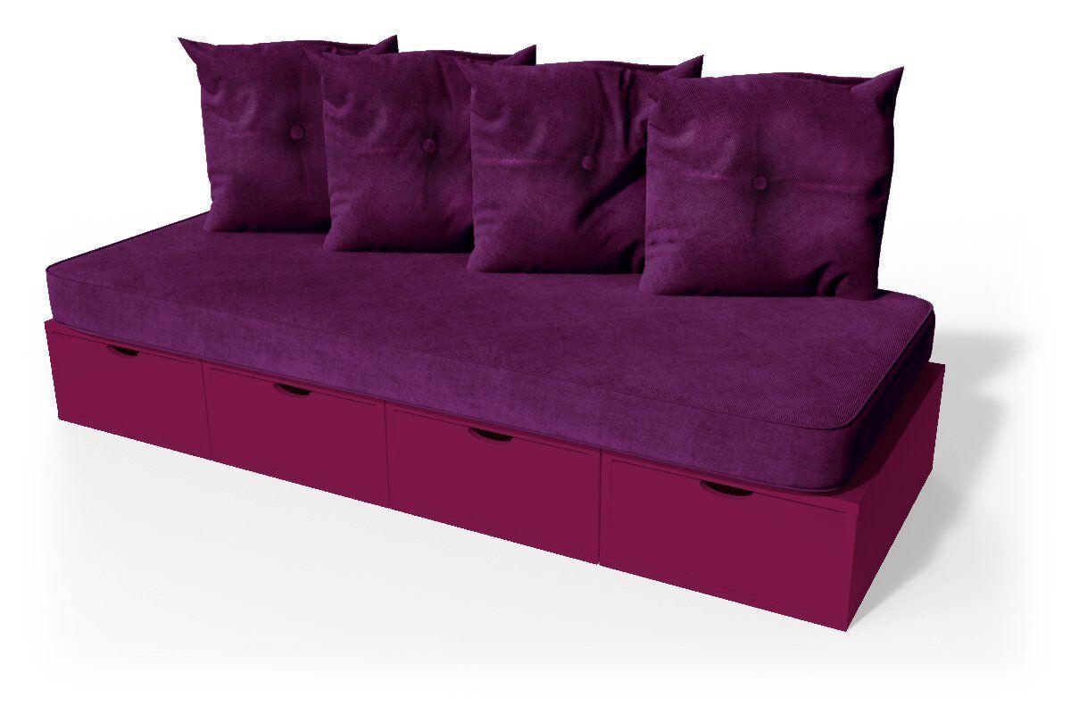 ABC MEUBLES Banquette cube 200 cm + futon + coussins - / - Prune