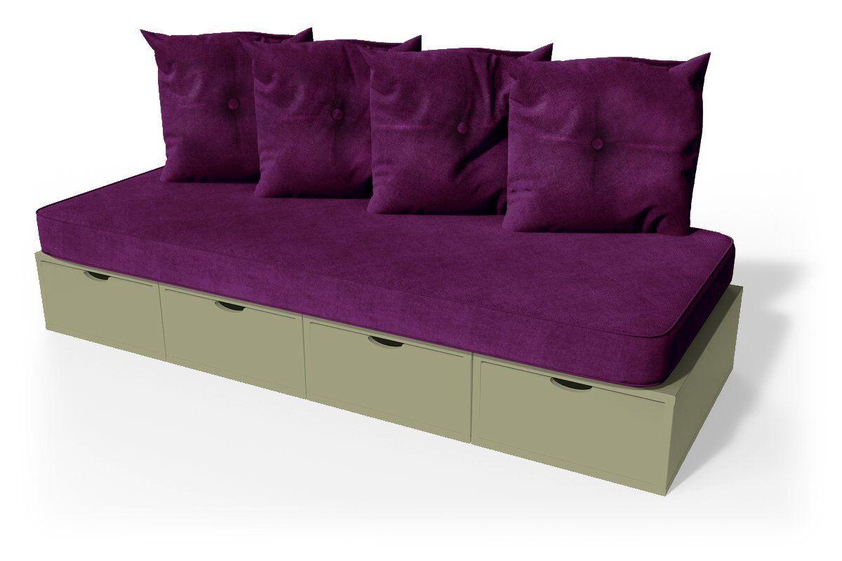 Abc meubles - banquette cube 200 cm + futon + coussins taupe prune