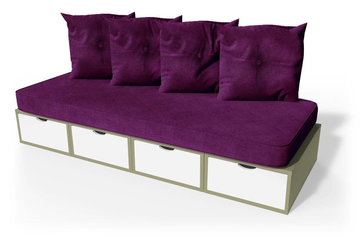 ABC MEUBLES Banquette cube 200 cm + futon + coussins - / - Taupe/Blanc