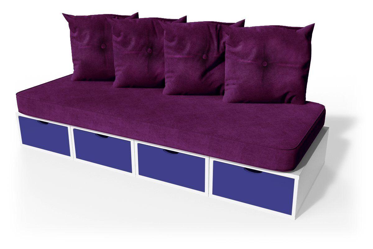 Abc meubles - banquette cube 200 cm + futon + coussins prune blanc/bleu foncé