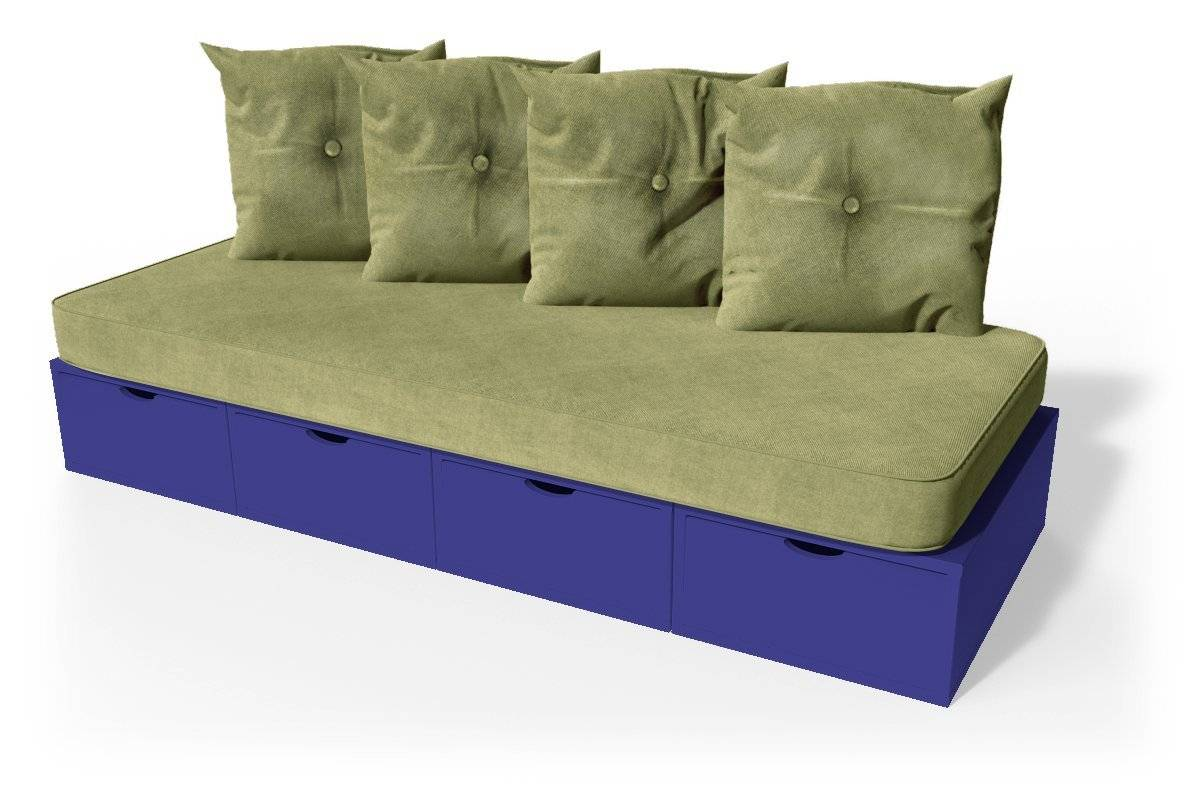 Abc meubles - banquette cube 200 cm + futon + coussins bleu foncé sable