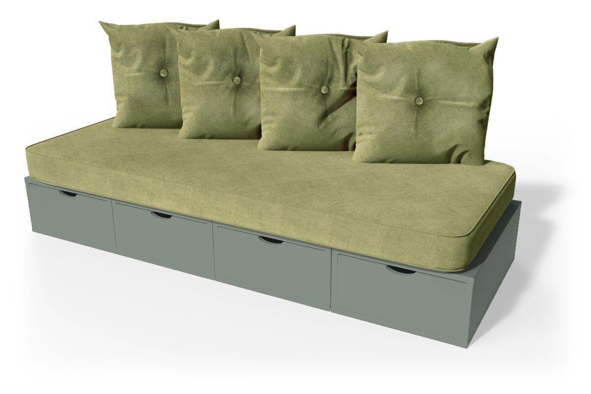 Abc meubles - banquette cube 200 cm + futon + coussins gris sable