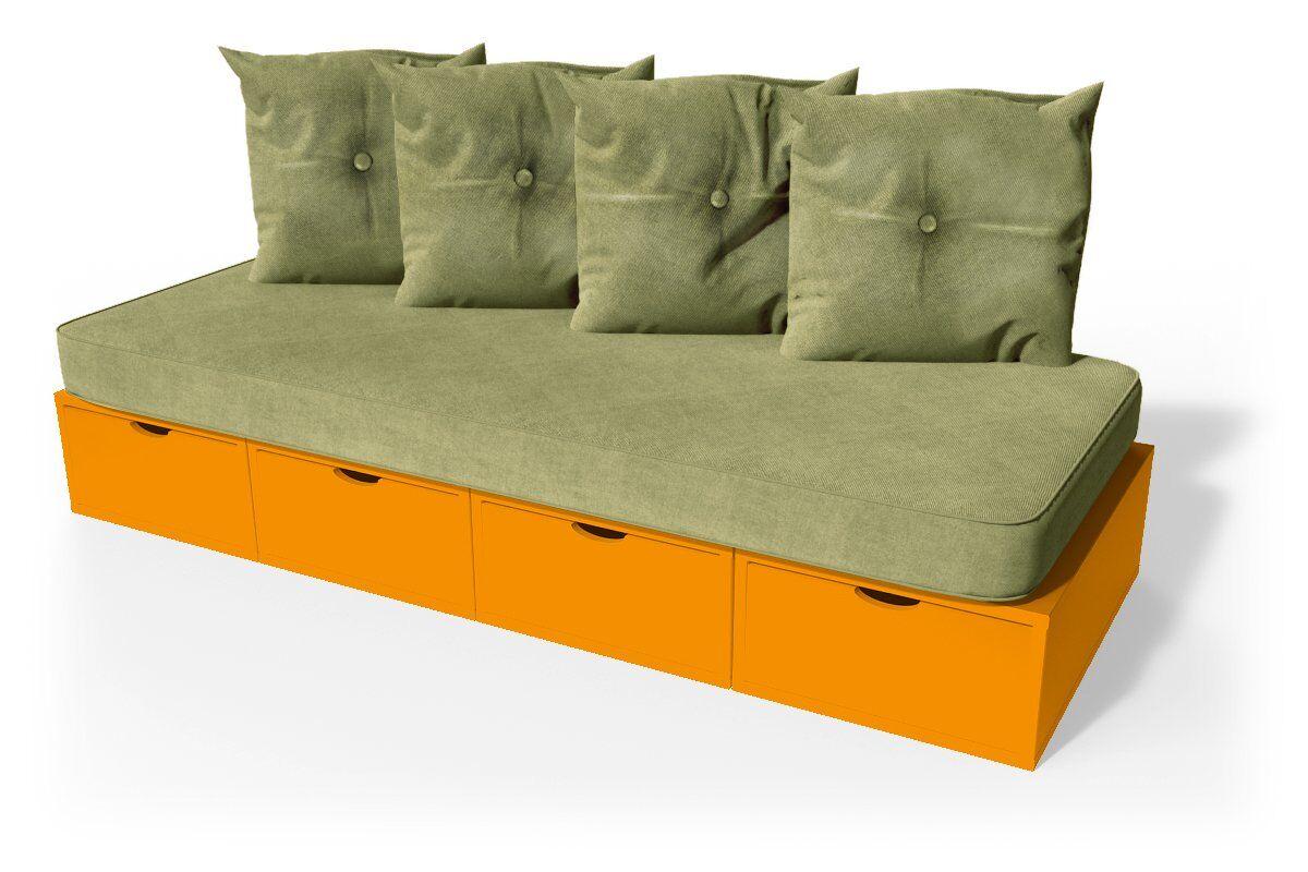 ABC MEUBLES Banquette cube 200 cm + futon + coussins - / - Orange