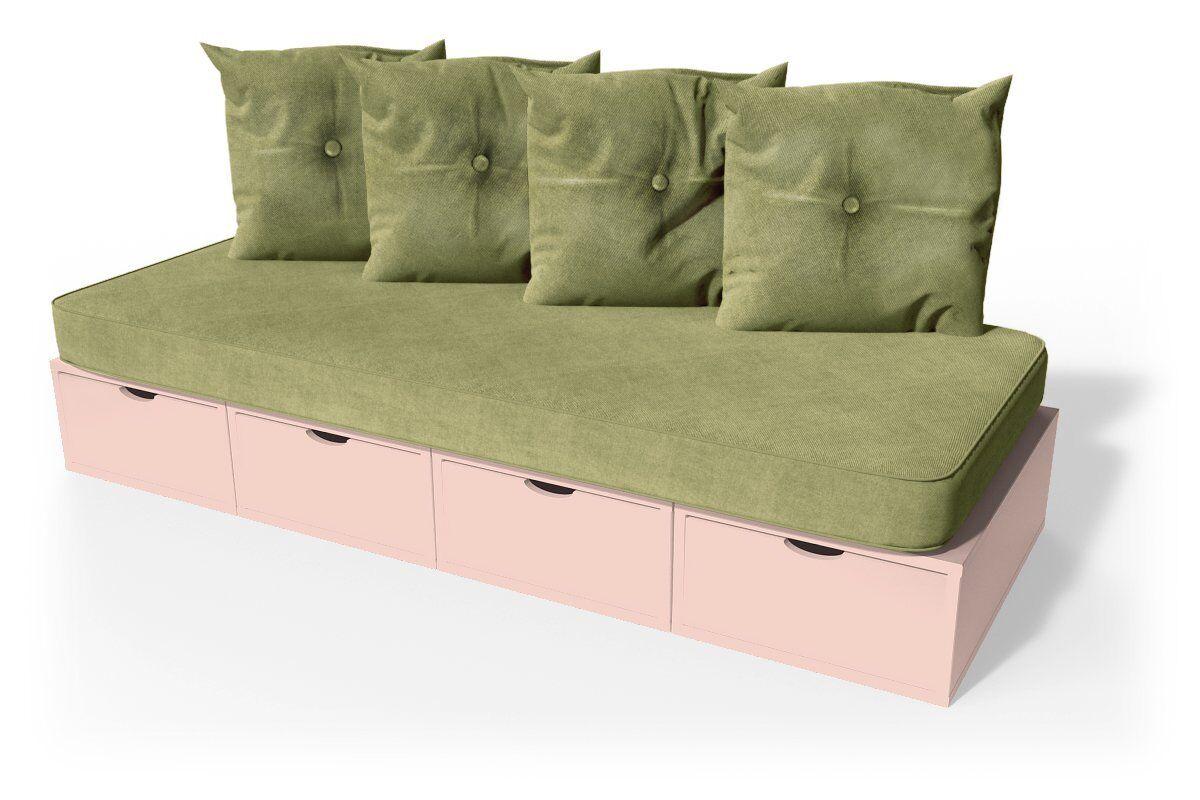 Abc meubles - banquette cube 200 cm + futon + coussins rose pastel sable