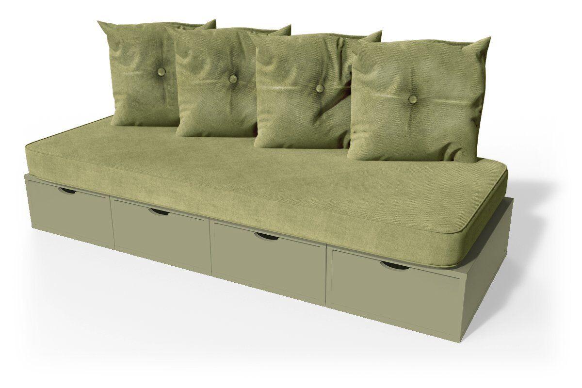 ABC MEUBLES Banquette cube 200 cm + futon + coussins - / - Taupe