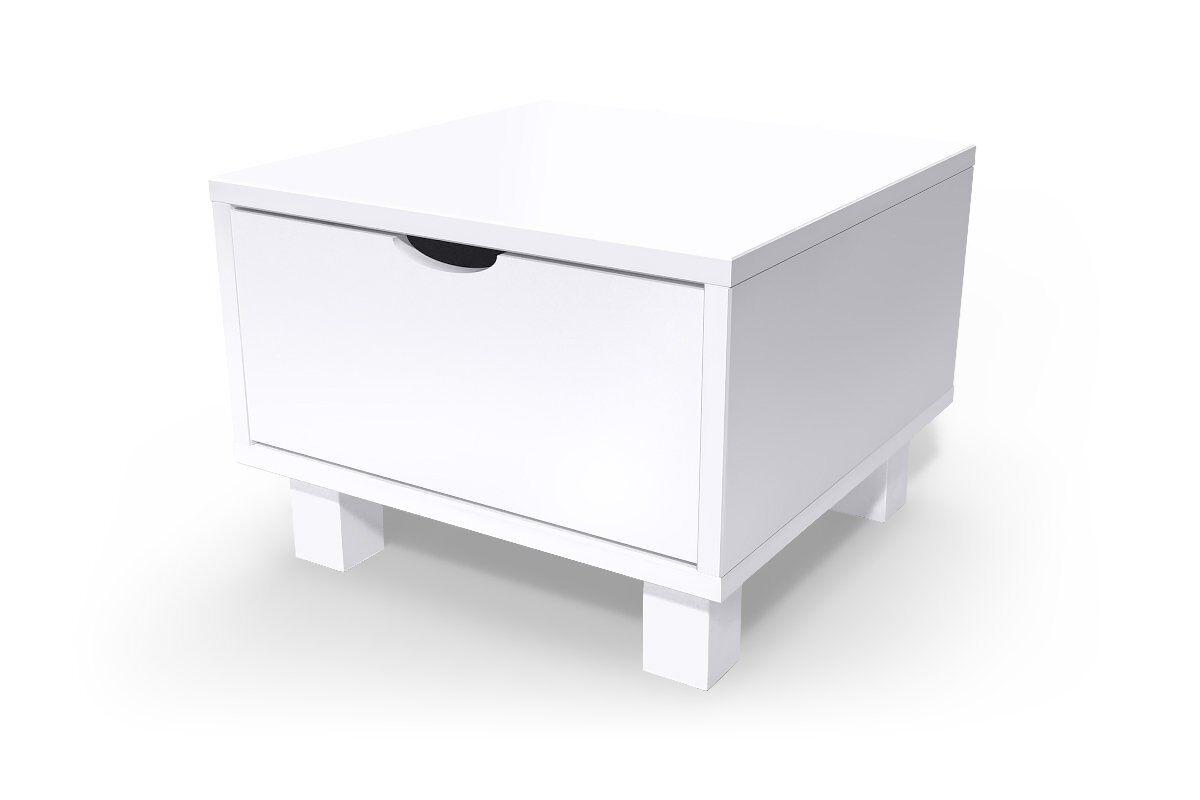 ABC MEUBLES Chevet cube tiroir bois - / - Blanc