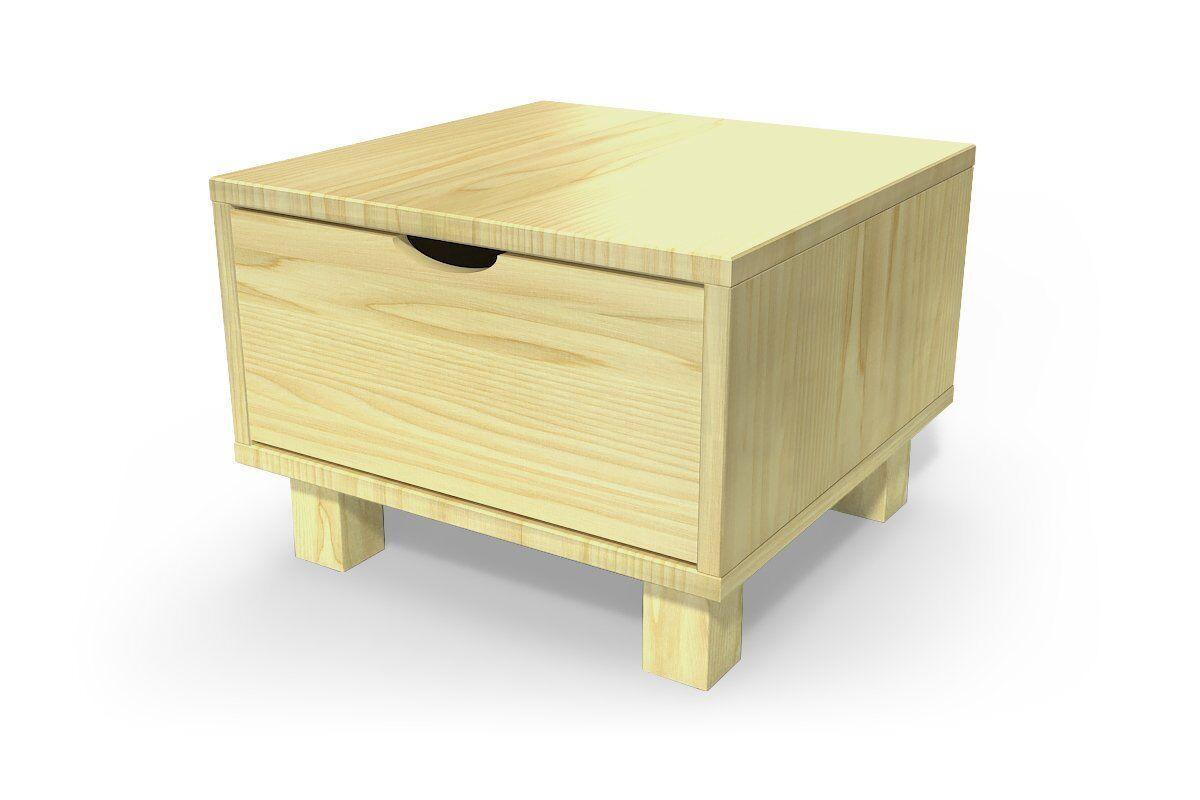 ABC MEUBLES Chevet cube tiroir bois - / - Miel