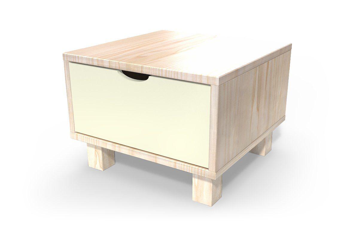 ABC MEUBLES Chevet cube tiroir bois - / - Vernis naturel / Ivoire