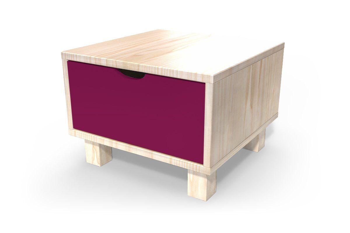 ABC MEUBLES Chevet cube tiroir bois - / - Vernis Naturel/Prune