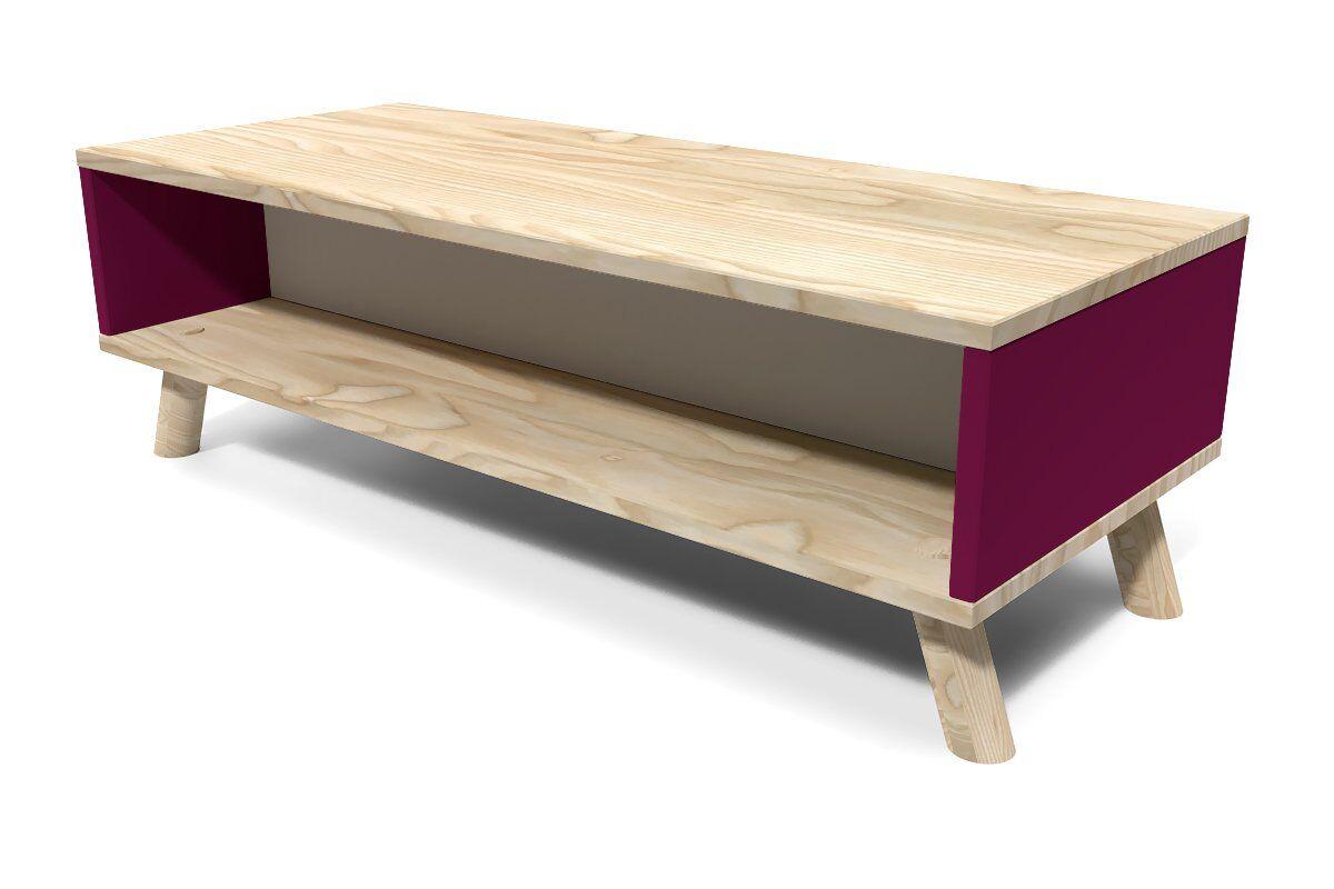 ABC MEUBLES Table Basse Scandinave rectangulaire Viking bois - / - Prune, Gris souris