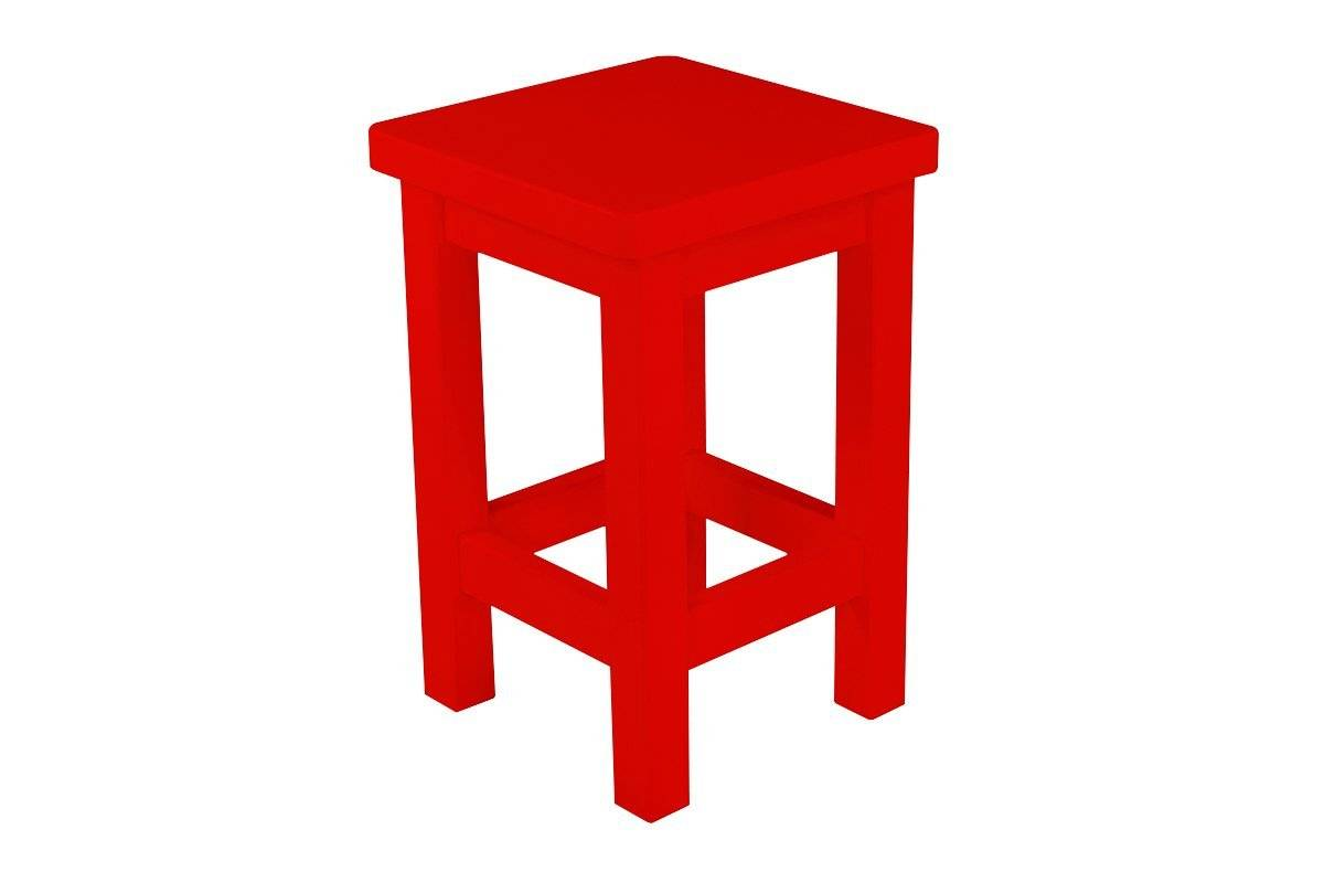 Abc meubles - tabouret droit bois made in france rouge
