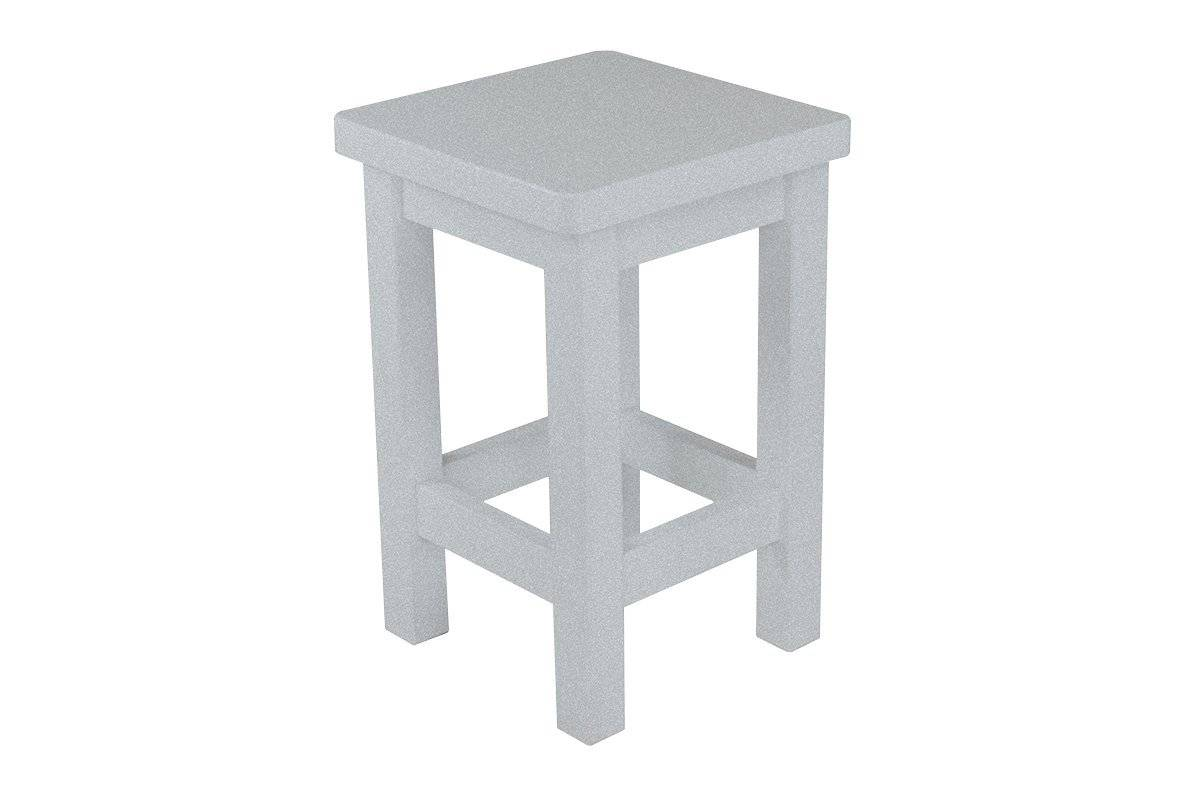 Abc meubles - tabouret droit bois made in france gris aluminium
