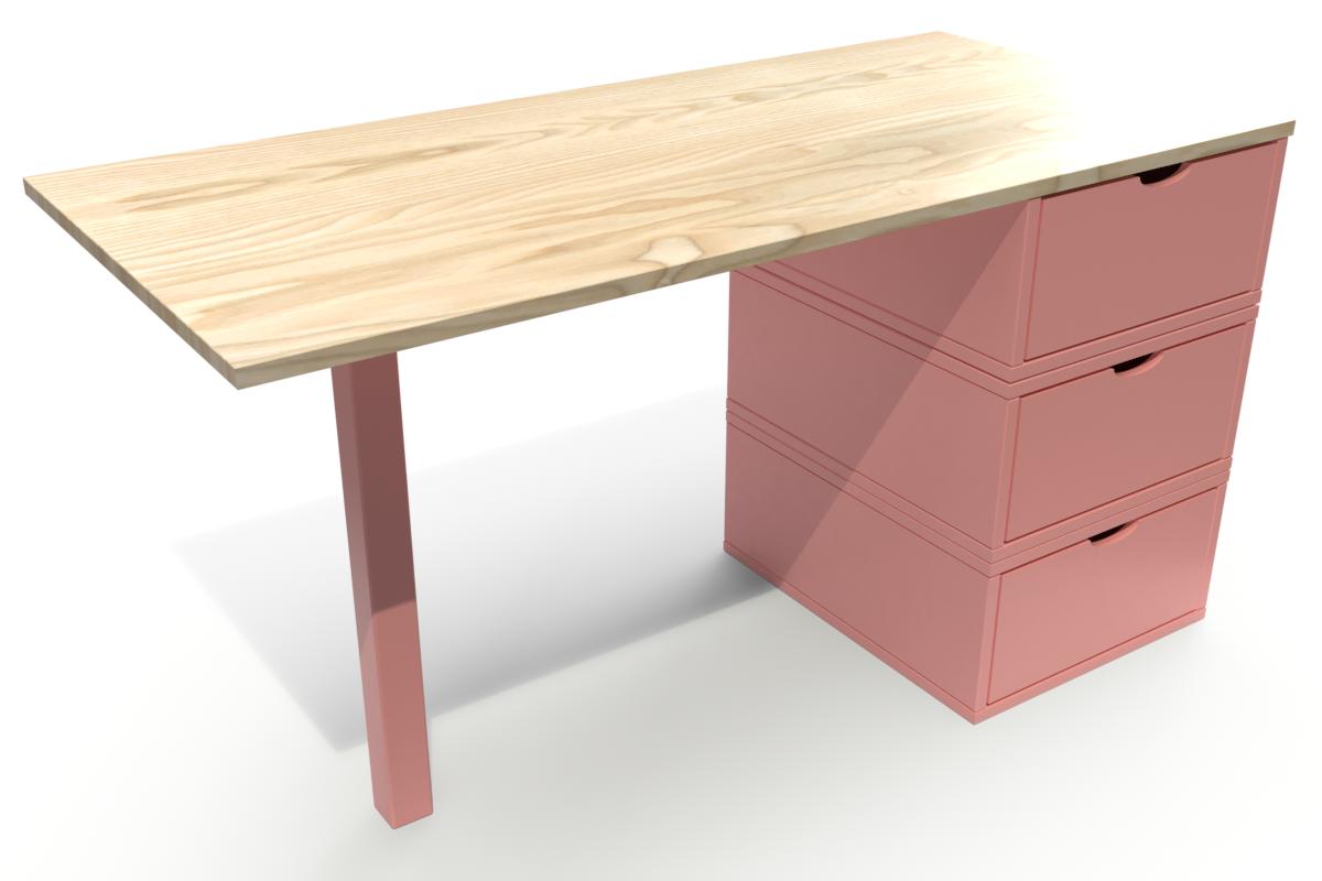 Abc meubles - bureau cube 3 tiroirs vernis naturel/rose