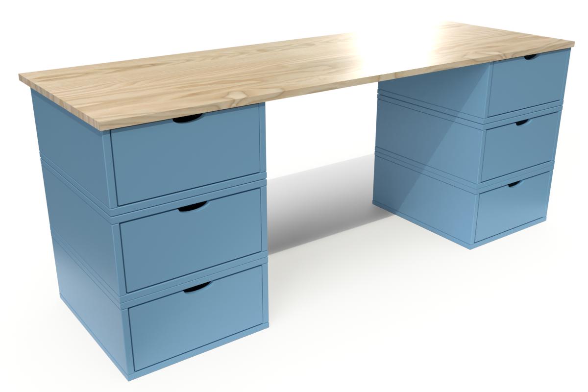 ABC MEUBLES Bureau Cube long 6 tiroirs - / - Vernis naturel/Bleu Pastel