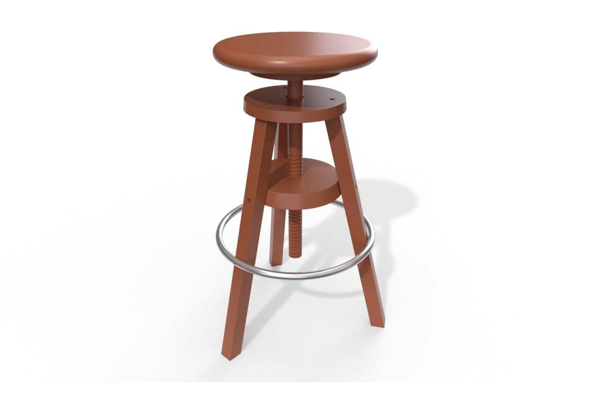 Abc meubles - tabouret à vis de bar chocolat