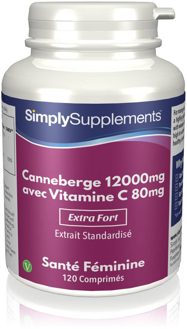 Simply Supplements Canneberge 12000mg   Vitamine C 80mg - 120 Comprimés