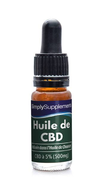 Simply Supplements Huile de Chanvre et CBD 500mg (5%)  - 10 ml