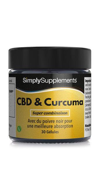 Simply Supplements CBD & Curcuma avec Poivre Noir - 30 Gélules