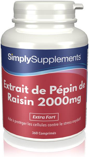 Simply Supplements Extrait de Pépin de Raisin 2000mg - 360 Comprimés