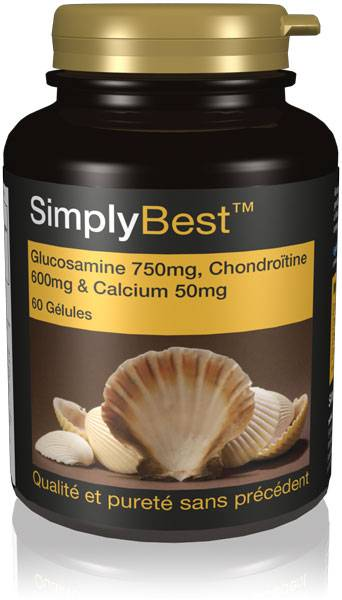 Simply Supplements Glucosamine 700mg, Chondroïtine 600mg & Calcium 60mg - 60 Gélules