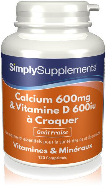 Simply Supplements Calcium & Vitamine D3 à Croquer - 120 Comprimés