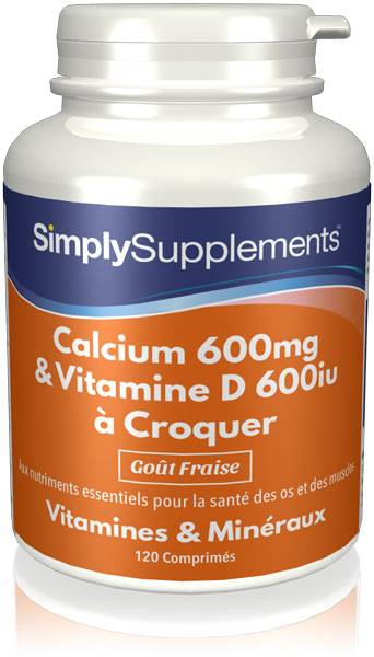 Simply Supplements Calcium & Vitamine D3 à Croquer - 120 Comprimés