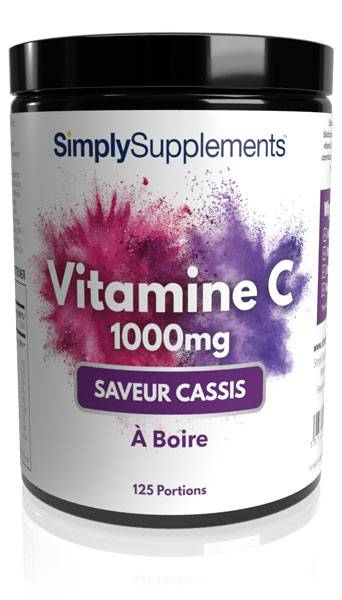 Simply Supplements Vitamine C 1000mg à Boire - Saveur Cassis - 125 Portions