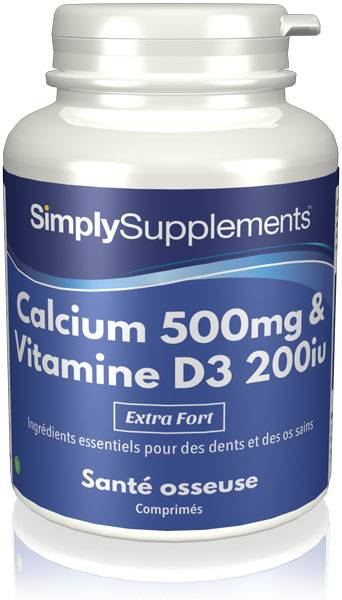 Simply Supplements Calcium 500mg et Vitamine D3 200iu - 360 Comprimés