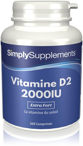 Simply Supplements Vitamine D2 2000iu - 360 Comprimés