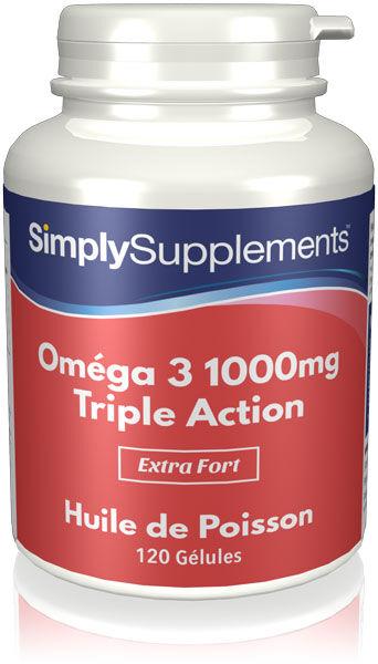 Simply Supplements Oméga 3 1000mg Triple puissance - 240 Gélules