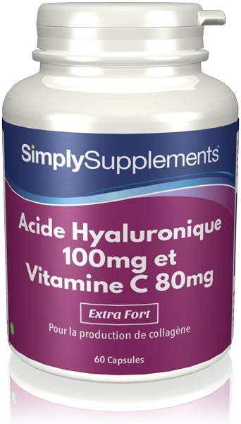 Simply Supplements Acide Hyaluronique 100mg et Vitamine C 80mg - 60 Gélules