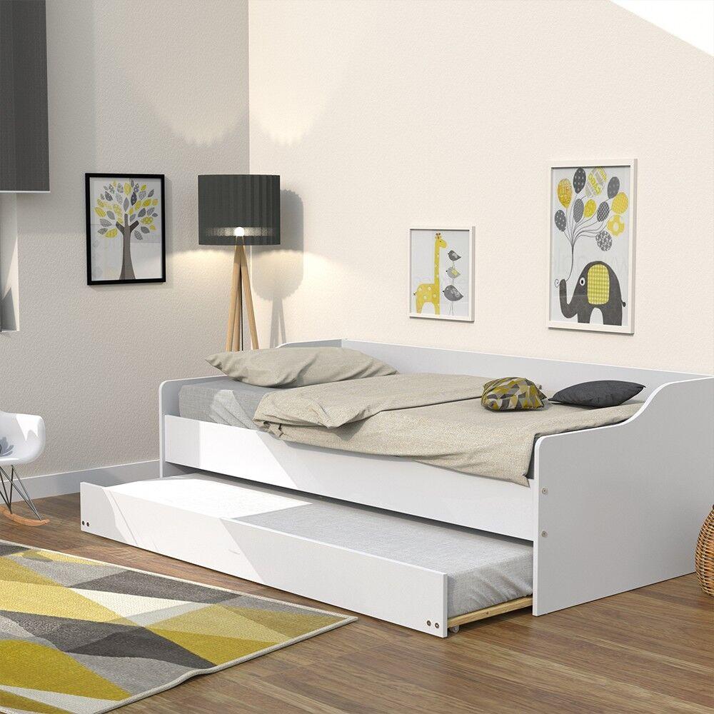 LE QUAI DES AFFAIRES Lit gigogne SWEET 90x200 + 2 sommiers + 1 tiroir-lit/ Blanc
