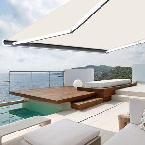 Store banne extérieur coffre intégral motorisé et manuel pour terrasse - Écru - 5 x 3,5 m - Publicité