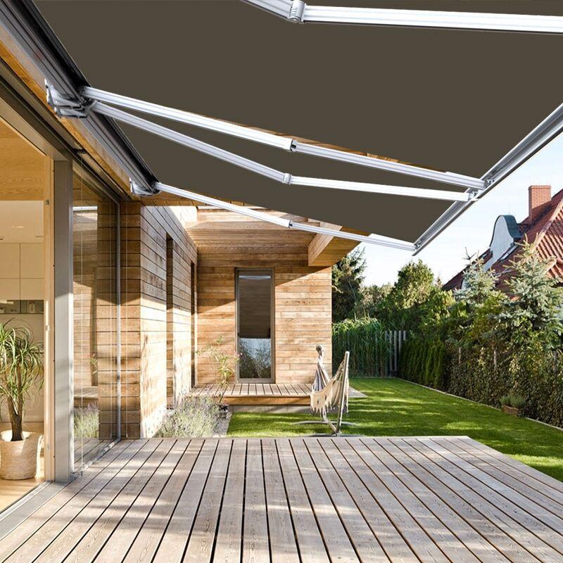 Store banne extérieur coffre intégral motorisé et manuel pour terrasse - Taupe - 5 x 3,5 m