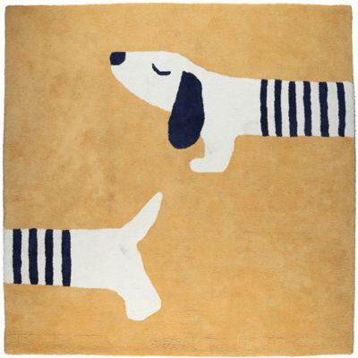 BIO + Tapis carré en coton bio Aston & Jack chien miel doré (120 x 120 cm)