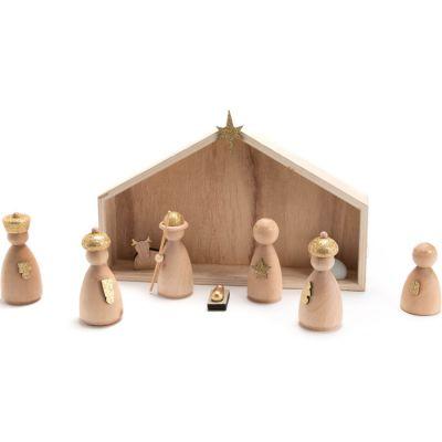 Crèche de Noël en bois et santons
