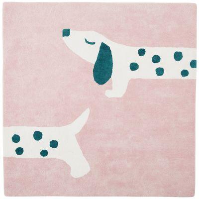 BIO + Tapis carré en coton bio Amy & Zoé chien rose (120 x 120 cm)