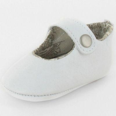 Chaussons baptême bébé prestige ballerine Marquise cuir blanc (0-6 mois)